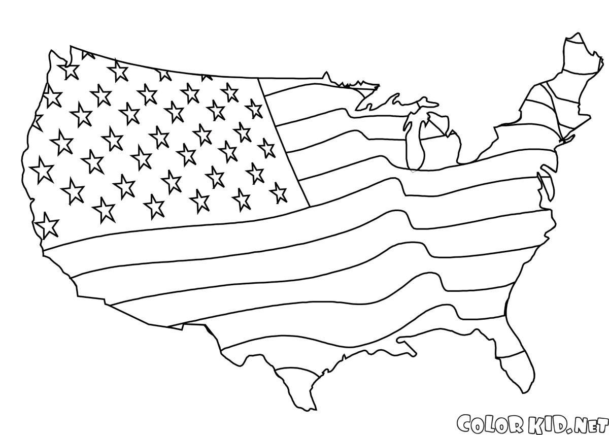 علم أمريكا على شكل خريطة