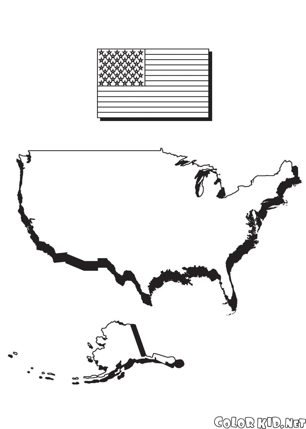 خريطة وعلم أمريكا