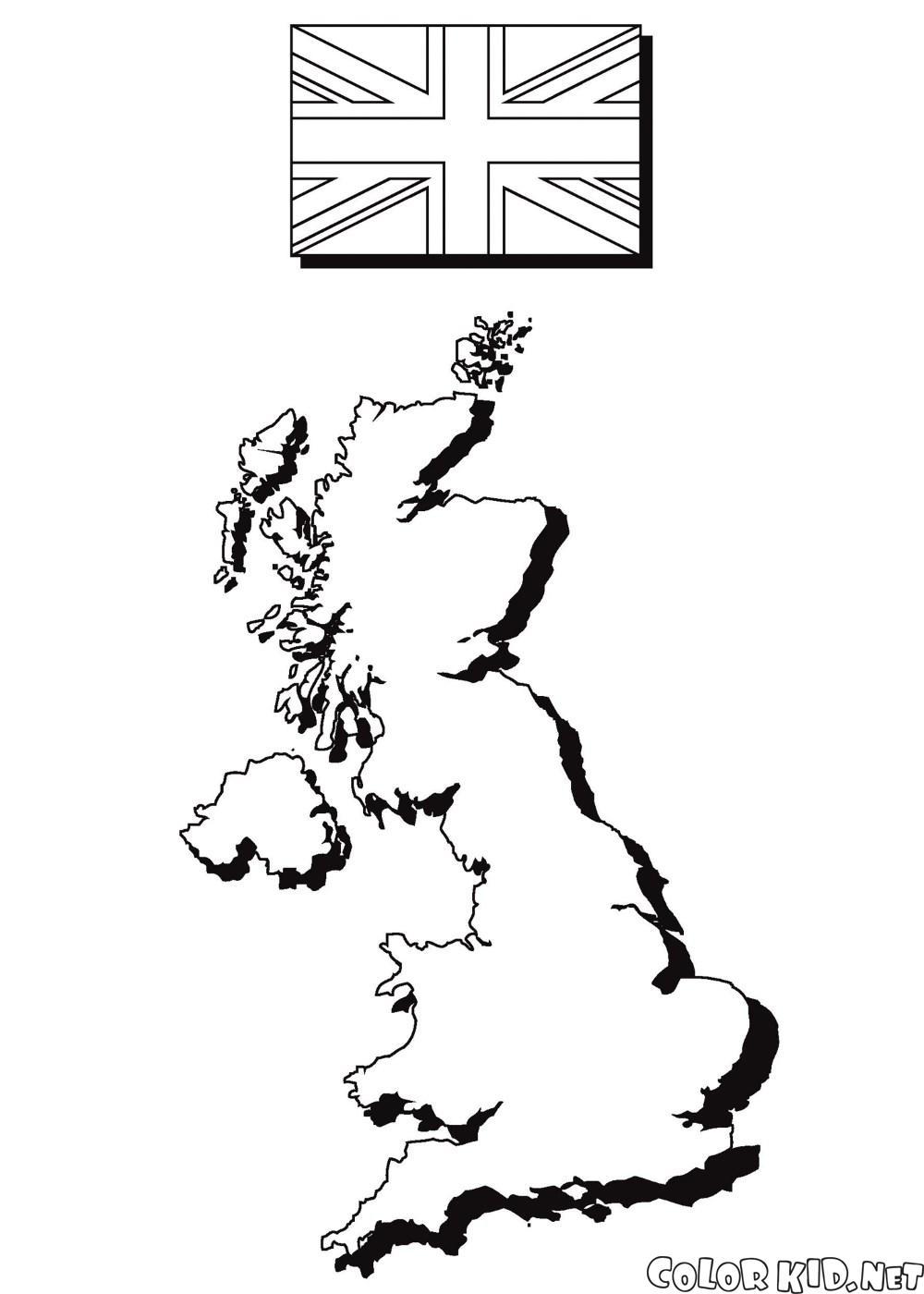 خريطة وعلم إنجلترا